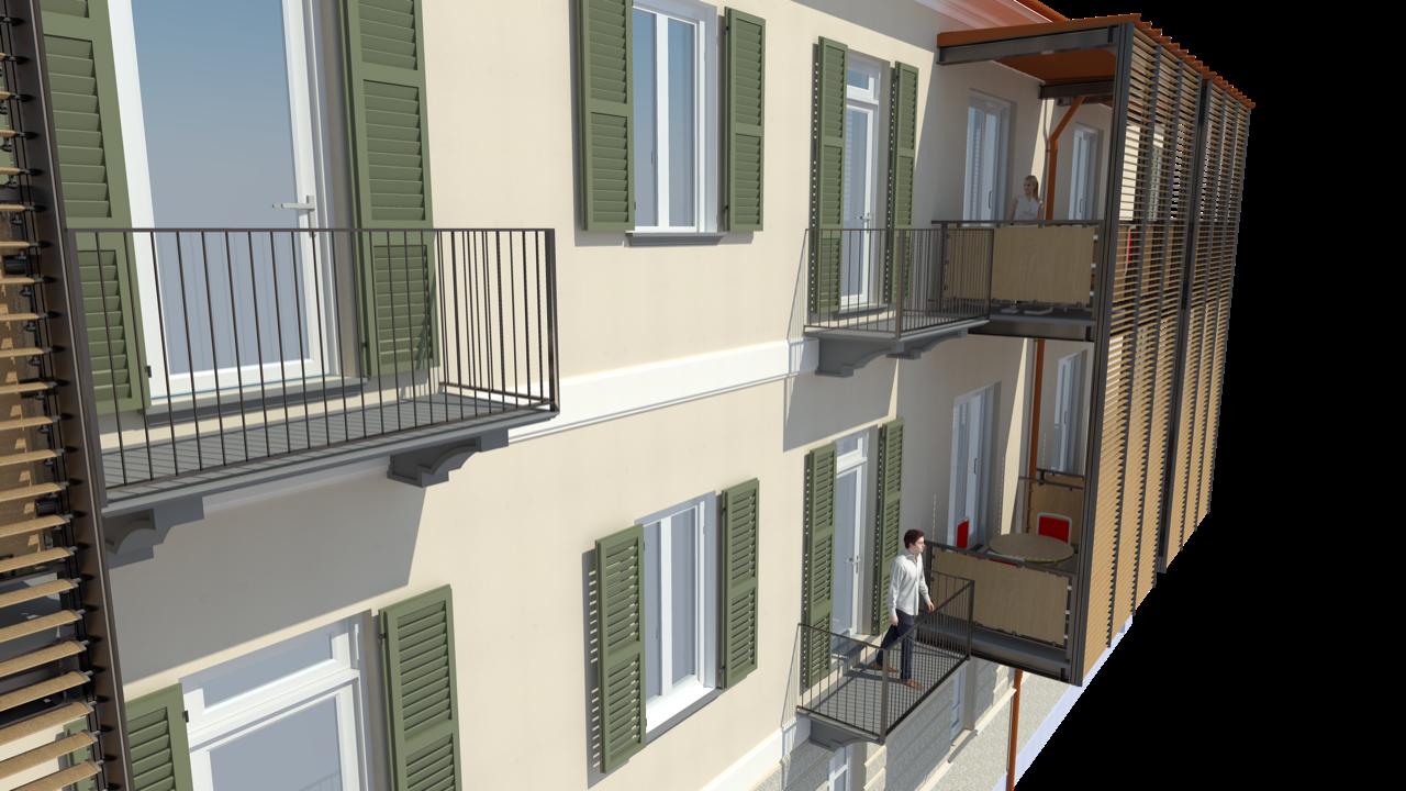 Fronte su cortile in progetto